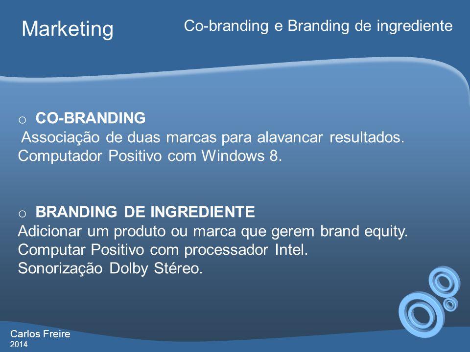 Carlos Freire 2014 Marketing Co-branding e Branding de ingrediente o CO-BRANDING Associação de duas marcas para alavancar resultados. Computador Posit