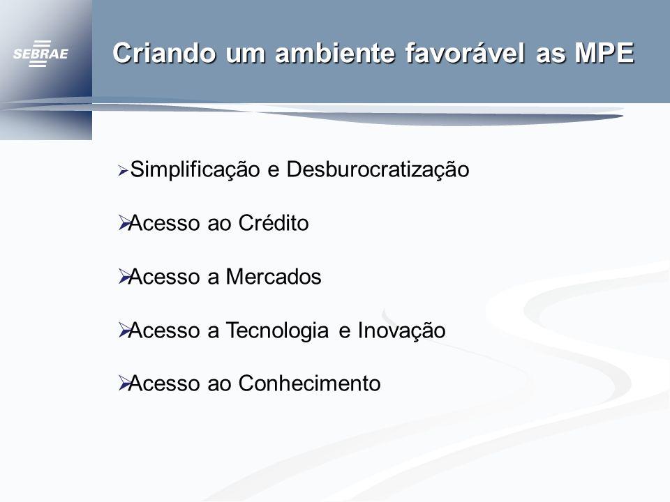 Criando um ambiente favorável as MPE Simplificação e Desburocratização Acesso ao Crédito Acesso a Mercados Acesso a Tecnologia e Inovação Acesso ao Conhecimento