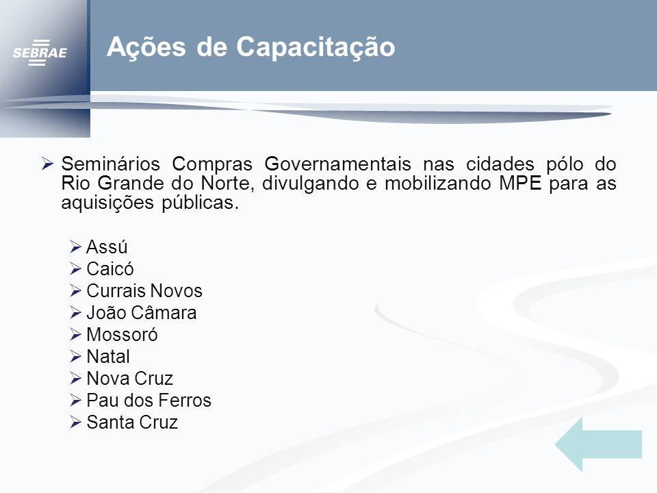 Ações de Capacitação Seminários Compras Governamentais nas cidades pólo do Rio Grande do Norte, divulgando e mobilizando MPE para as aquisições públicas.
