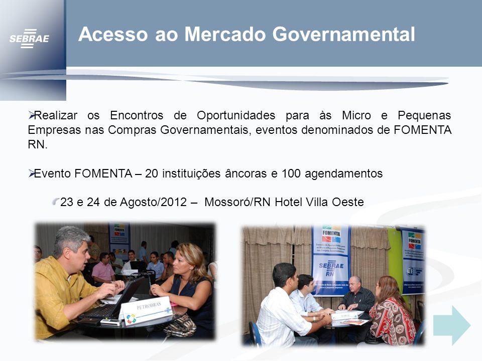 Acesso ao Mercado Governamental Realizar os Encontros de Oportunidades para às Micro e Pequenas Empresas nas Compras Governamentais, eventos denominados de FOMENTA RN.