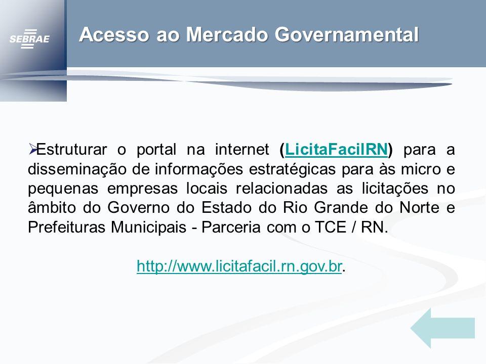 Acesso ao Mercado Governamental Estruturar o portal na internet (LicitaFacilRN) para a disseminação de informações estratégicas para às micro e pequenas empresas locais relacionadas as licitações no âmbito do Governo do Estado do Rio Grande do Norte e Prefeituras Municipais - Parceria com o TCE / RN.LicitaFacilRN http://www.licitafacil.rn.gov.brhttp://www.licitafacil.rn.gov.br.