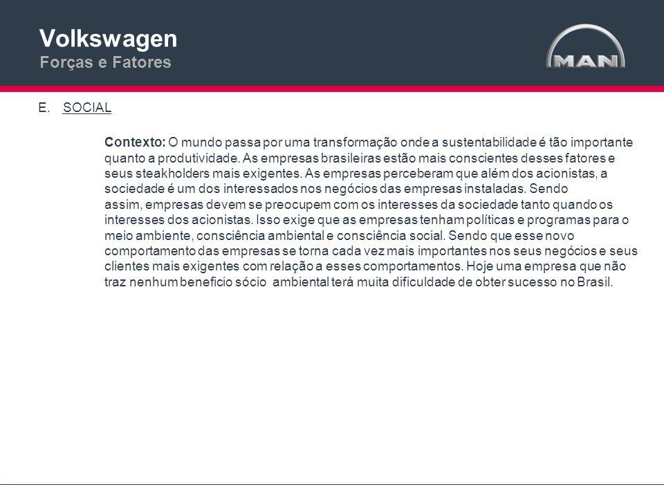 Volkswagen Forças e Fatores E.SOCIAL Atual: Atualmente a MAN não tem grandes programas sociais no Brasil.