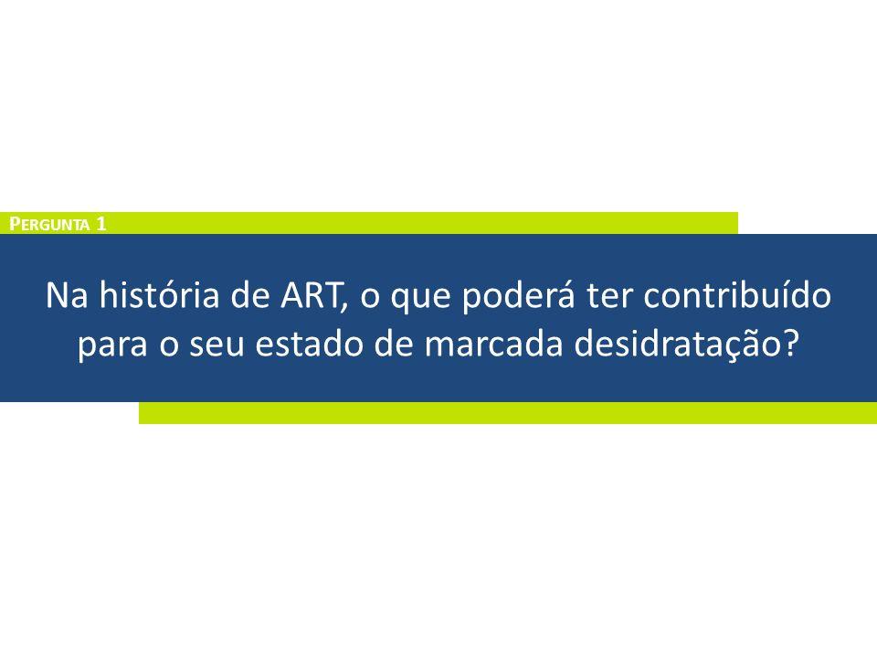 Na história de ART, o que poderá ter contribuído para o seu estado de marcada desidratação? P ERGUNTA 1