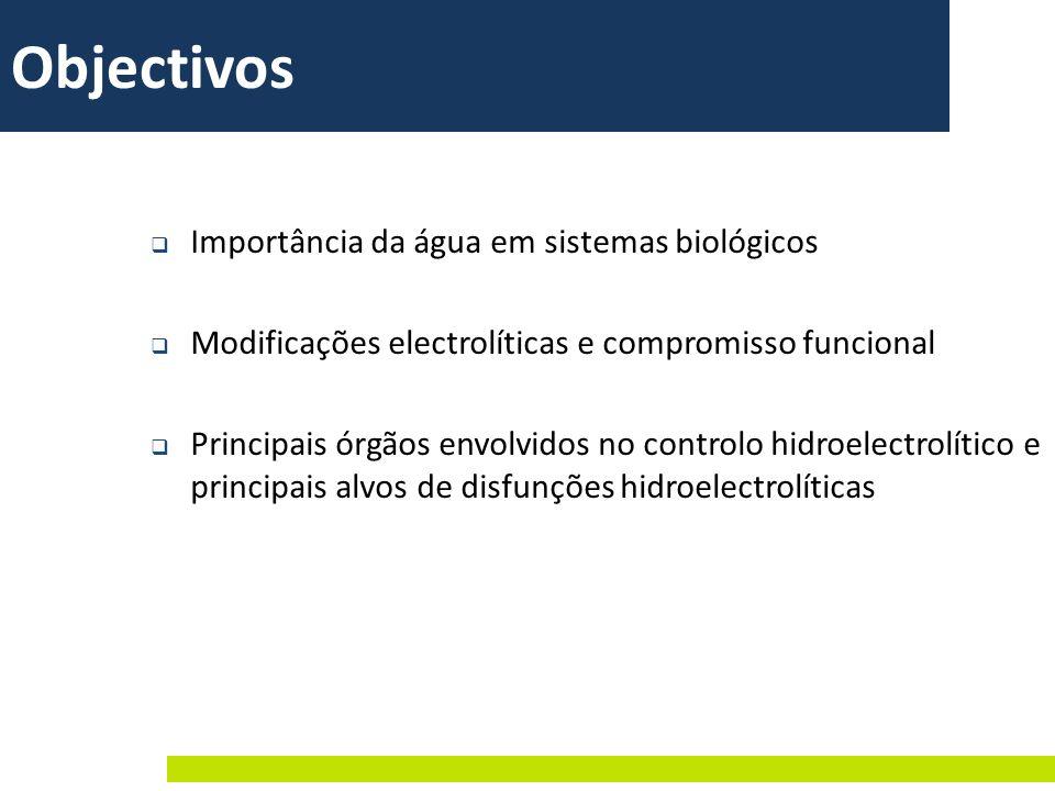 Objectivos Importância da água em sistemas biológicos Modificações electrolíticas e compromisso funcional Principais órgãos envolvidos no controlo hid