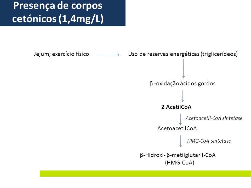 β -oxidação ácidos gordos Uso de reservas energéticas (triglicerídeos)Jejum; exercício físico Presença de corpos cetónicos (1,4mg/L) 2 AcetilCoA Aceto