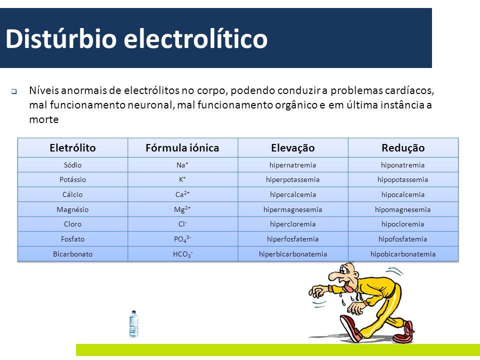 Distúrbio electrolítico Níveis anormais de electrólitos no corpo, podendo conduzir a problemas cardíacos, mal funcionamento neuronal, mal funcionament