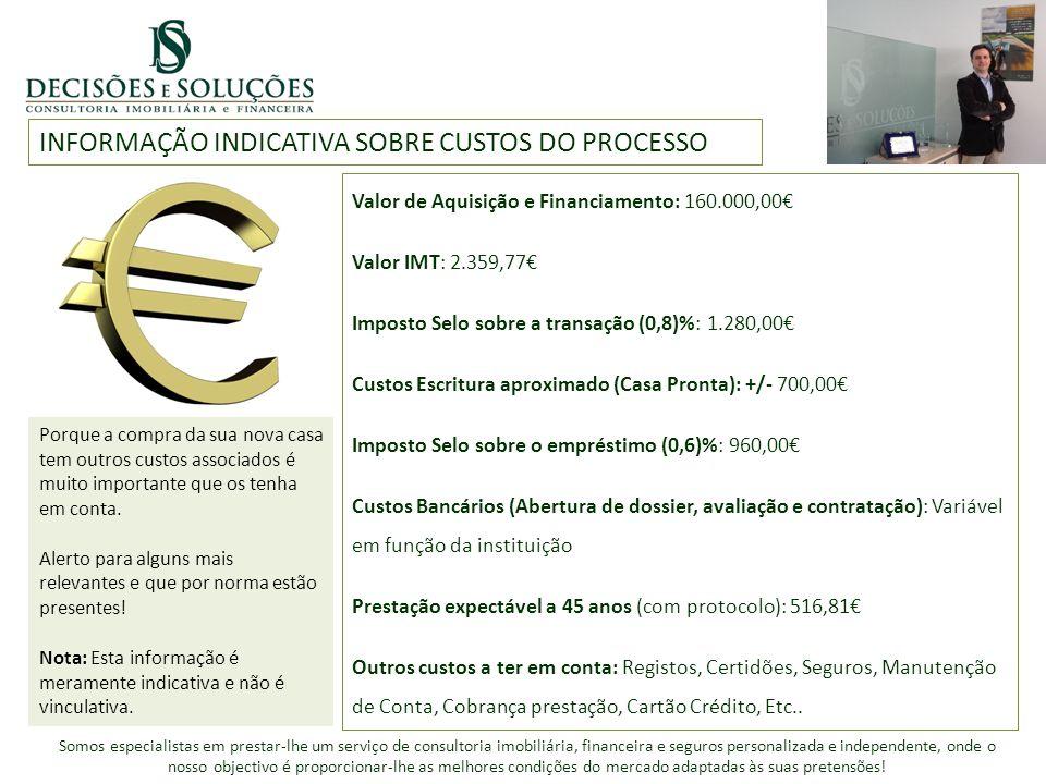 INFORMAÇÃO INDICATIVA SOBRE CUSTOS DO PROCESSO Valor de Aquisição e Financiamento: 160.000,00 Valor IMT: 2.359,77 Imposto Selo sobre a transação (0,8)