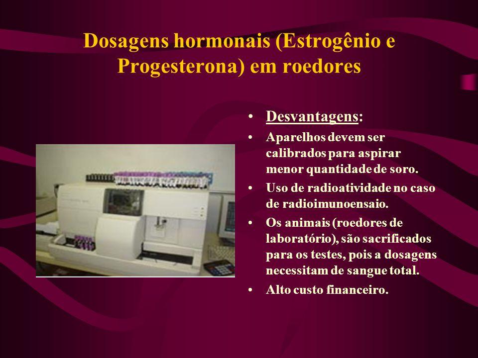 Dosagens hormonais (Estrogênio e Progesterona) em roedores Desvantagens: Aparelhos devem ser calibrados para aspirar menor quantidade de soro. Uso de