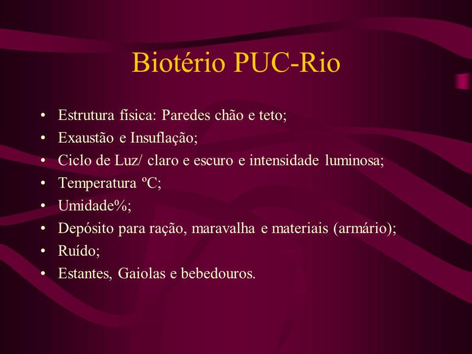 Biotério PUC-Rio Estrutura física: Paredes chão e teto; Exaustão e Insuflação; Ciclo de Luz/ claro e escuro e intensidade luminosa; Temperatura ºC; Um
