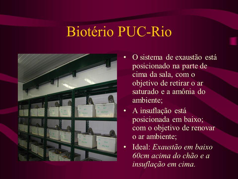 Biotério PUC-Rio O sistema de exaustão está posicionado na parte de cima da sala, com o objetivo de retirar o ar saturado e a amônia do ambiente; A in