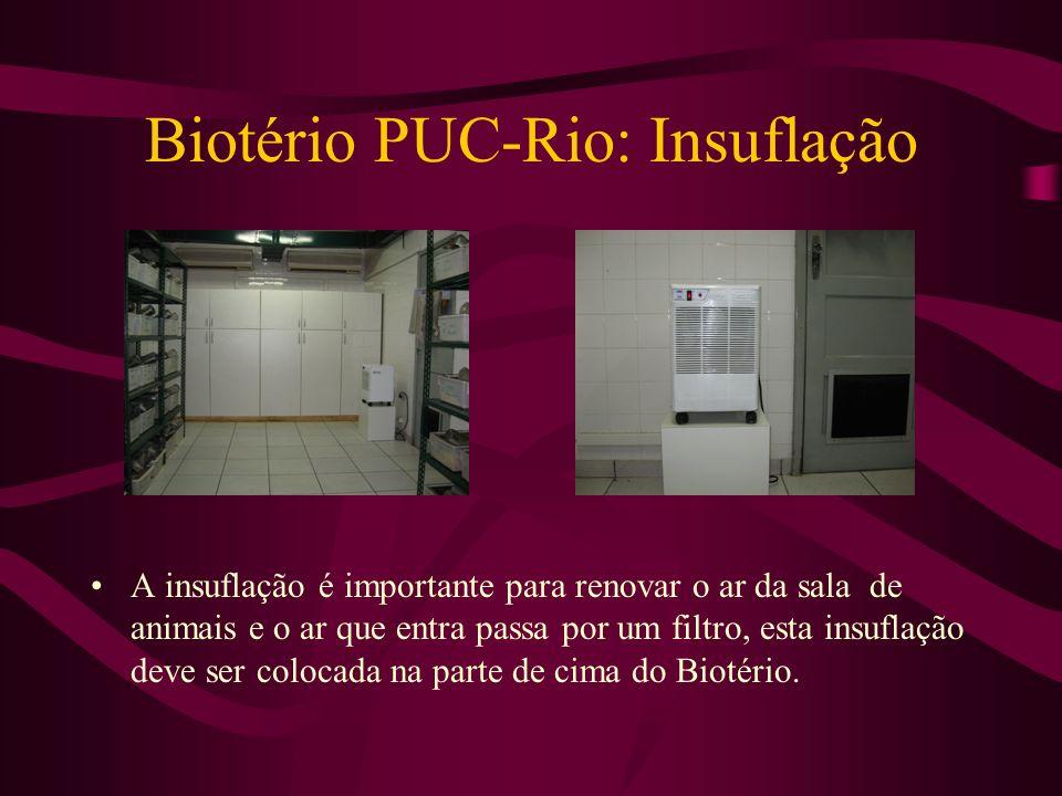 Biotério PUC-Rio: Insuflação A insuflação é importante para renovar o ar da sala de animais e o ar que entra passa por um filtro, esta insuflação deve