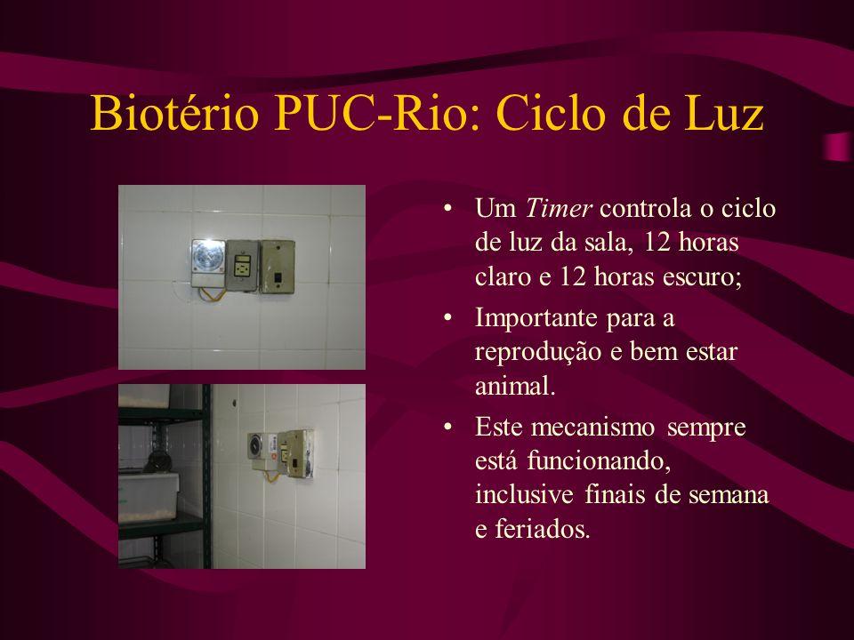 Biotério PUC-Rio: Ciclo de Luz Um Timer controla o ciclo de luz da sala, 12 horas claro e 12 horas escuro; Importante para a reprodução e bem estar an