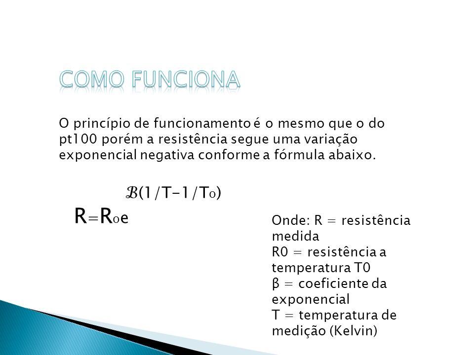 O princípio de funcionamento é o mesmo que o do pt100 porém a resistência segue uma variação exponencial negativa conforme a fórmula abaixo. (1/T-1/T