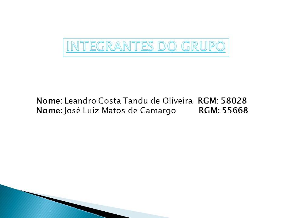Nome: Leandro Costa Tandu de Oliveira RGM: 58028 Nome: José Luiz Matos de Camargo RGM: 55668