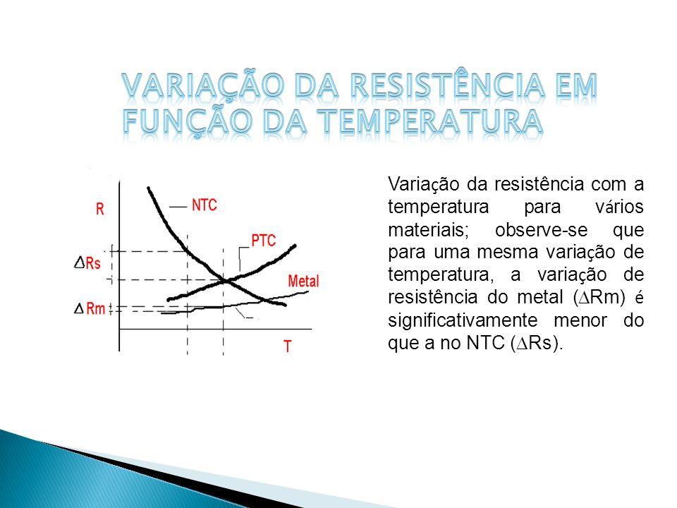Varia ç ão da resistência com a temperatura para v á rios materiais; observe-se que para uma mesma varia ç ão de temperatura, a varia ç ão de resistên