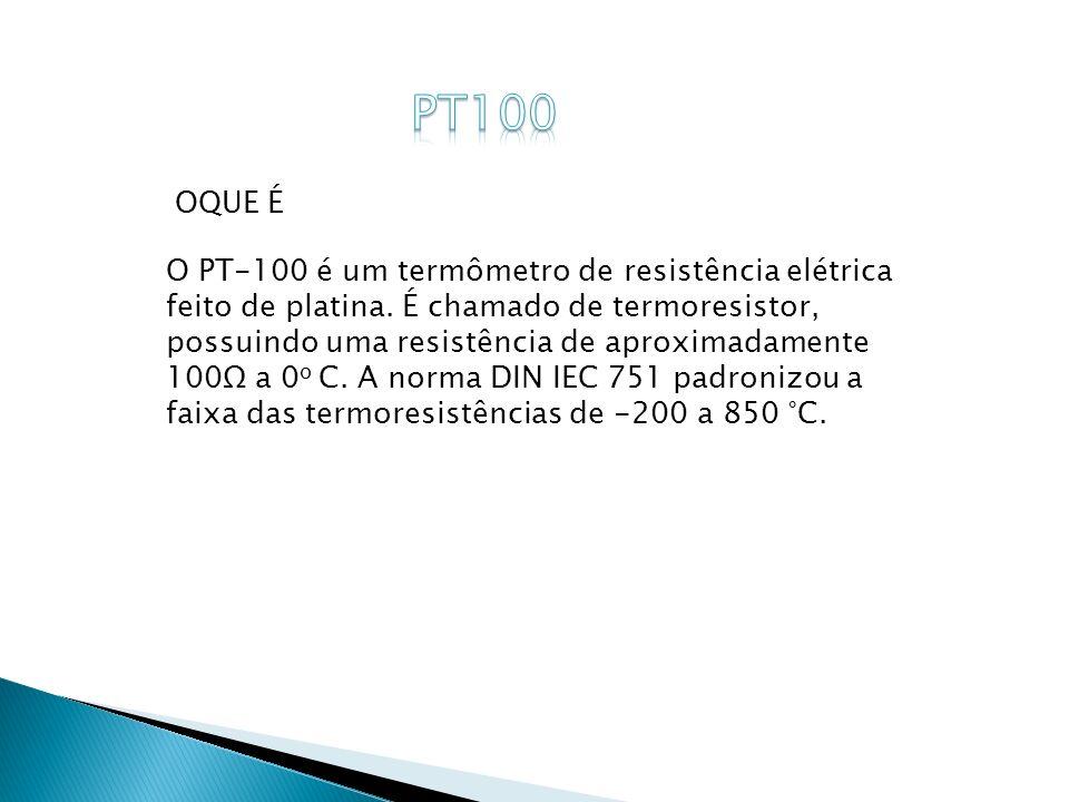 O PT-100 é um termômetro de resistência elétrica feito de platina. É chamado de termoresistor, possuindo uma resistência de aproximadamente 100Ω a 0 o