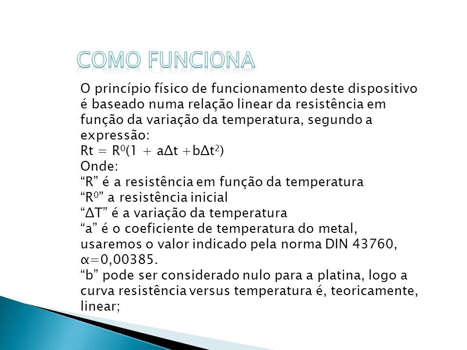 O princípio físico de funcionamento deste dispositivo é baseado numa relação linear da resistência em função da variação da temperatura, segundo a exp