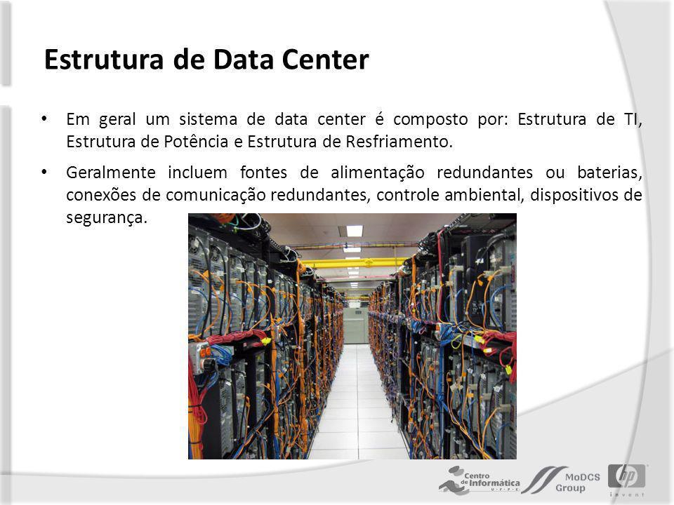 Estrutura de Data Center Em geral um sistema de data center é composto por: Estrutura de TI, Estrutura de Potência e Estrutura de Resfriamento.