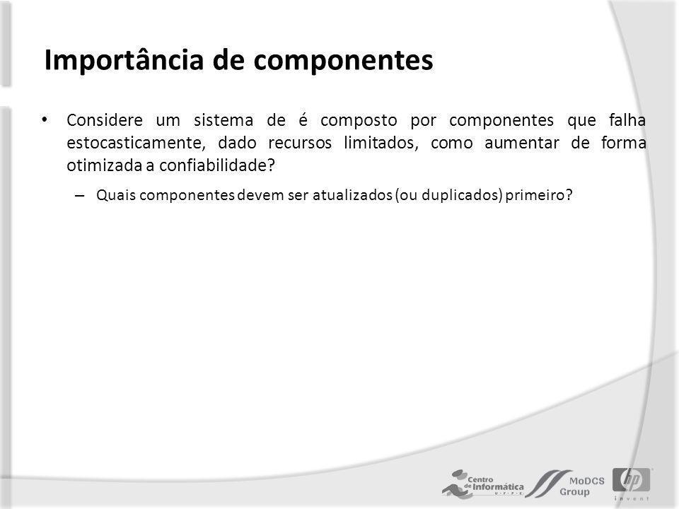 Importância de componentes Considere um sistema de é composto por componentes que falha estocasticamente, dado recursos limitados, como aumentar de forma otimizada a confiabilidade.