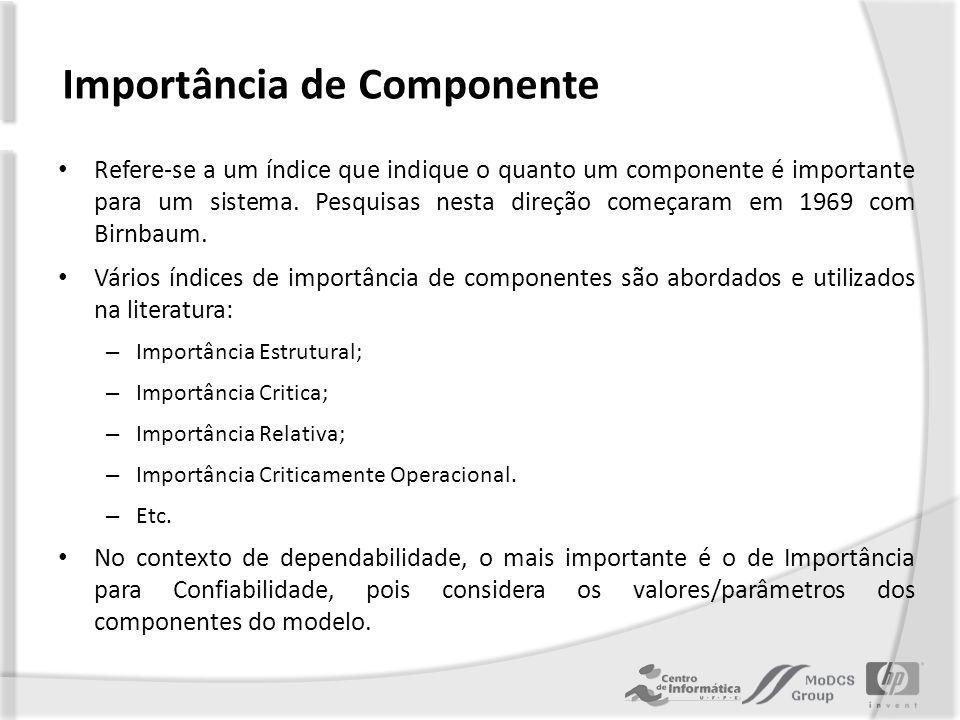 Importância para Confiabilidade Representa a quantidade de aumento na confiabilidade do sistema quando a confiabilidade do componente aumenta.