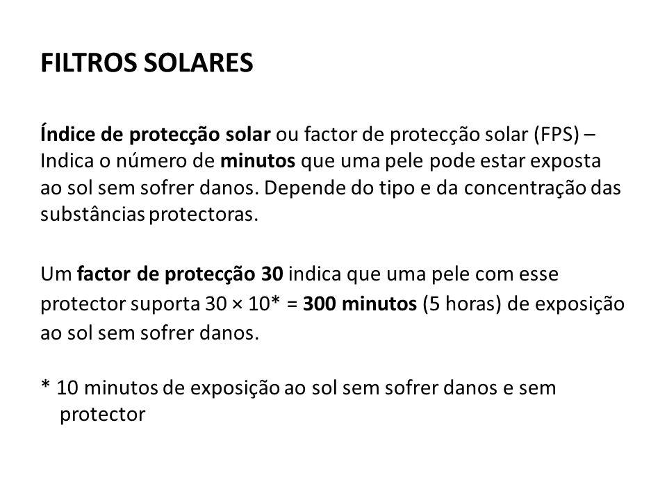 FILTROS SOLARES Índice de protecção solar ou factor de protecção solar (FPS) – Indica o número de minutos que uma pele pode estar exposta ao sol sem sofrer danos.