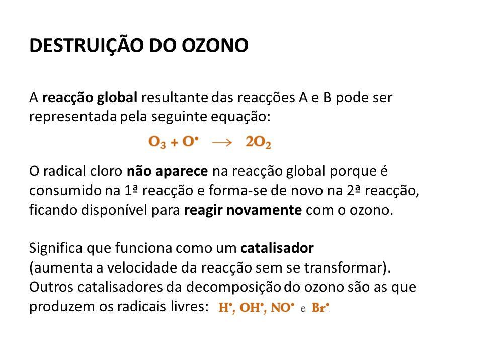 DESTRUIÇÃO DO OZONO A reacção global resultante das reacções A e B pode ser representada pela seguinte equação: O radical cloro não aparece na reacção global porque é consumido na 1ª reacção e forma-se de novo na 2ª reacção, ficando disponível para reagir novamente com o ozono.