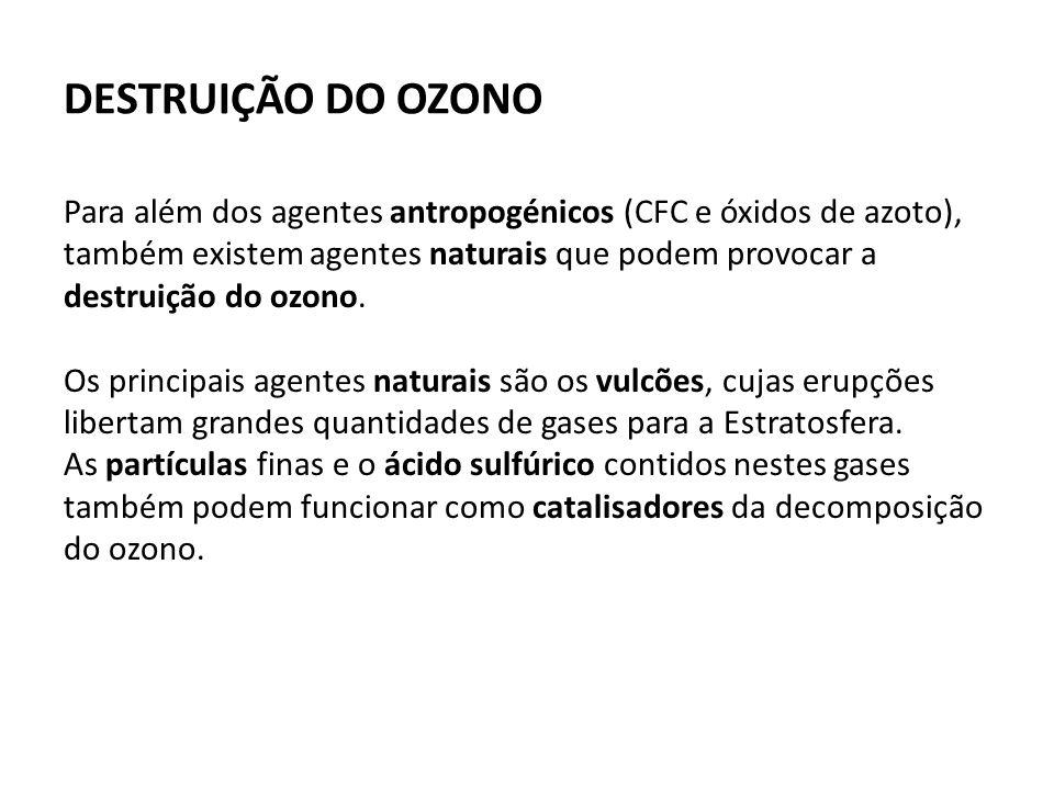 DESTRUIÇÃO DO OZONO Para além dos agentes antropogénicos (CFC e óxidos de azoto), também existem agentes naturais que podem provocar a destruição do ozono.