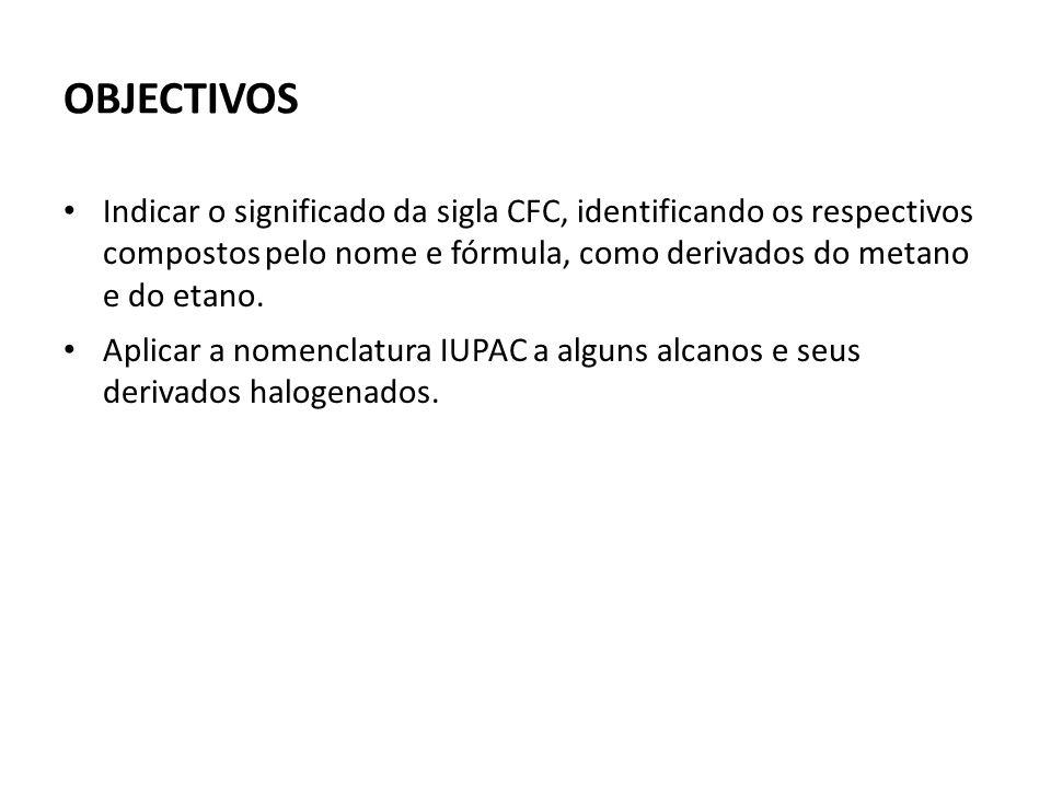 OBJECTIVOS Indicar o significado da sigla CFC, identificando os respectivos compostos pelo nome e fórmula, como derivados do metano e do etano.
