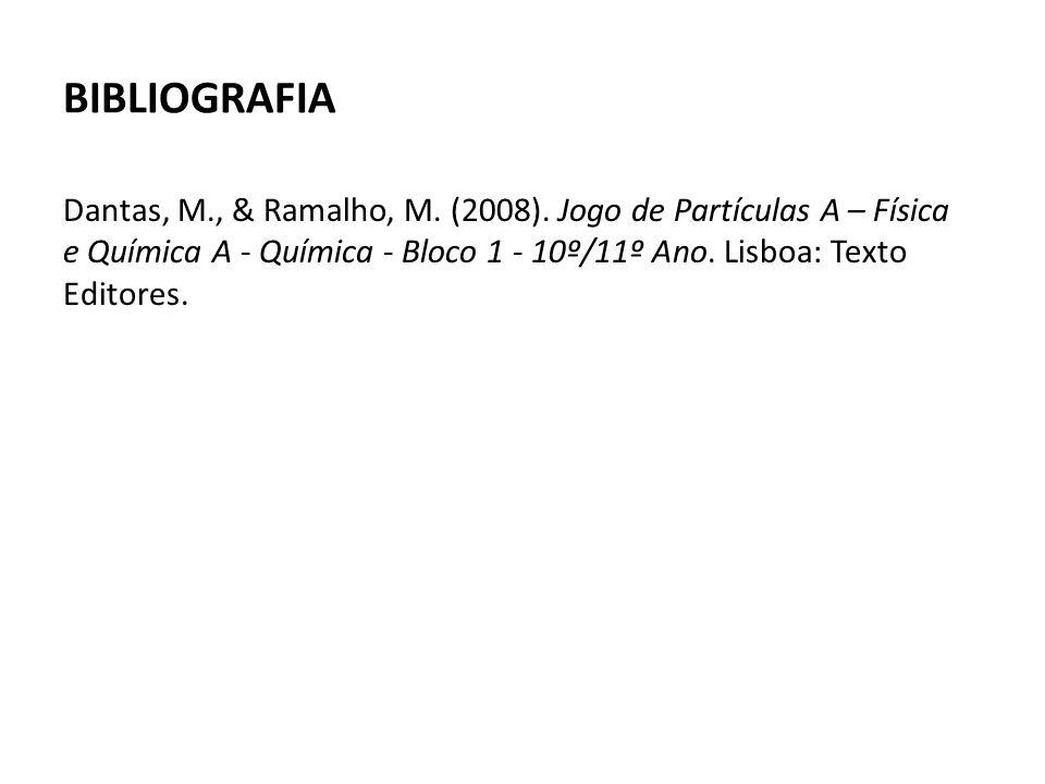 BIBLIOGRAFIA Dantas, M., & Ramalho, M. (2008). Jogo de Partículas A – Física e Química A - Química - Bloco 1 - 10º/11º Ano. Lisboa: Texto Editores.