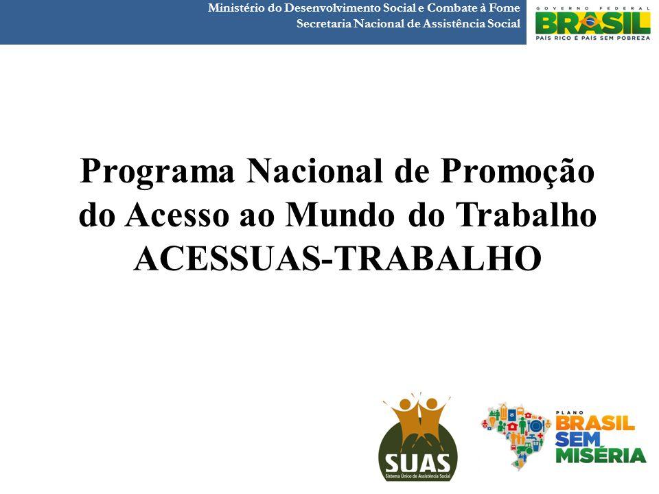 Ministério do Desenvolvimento Social e Combate à Fome Secretaria Nacional de Assistência Social PREVISÃO - ACESSUAS TRABALHO 2013 830 municípios atendem aos critérios de elegibilidade.