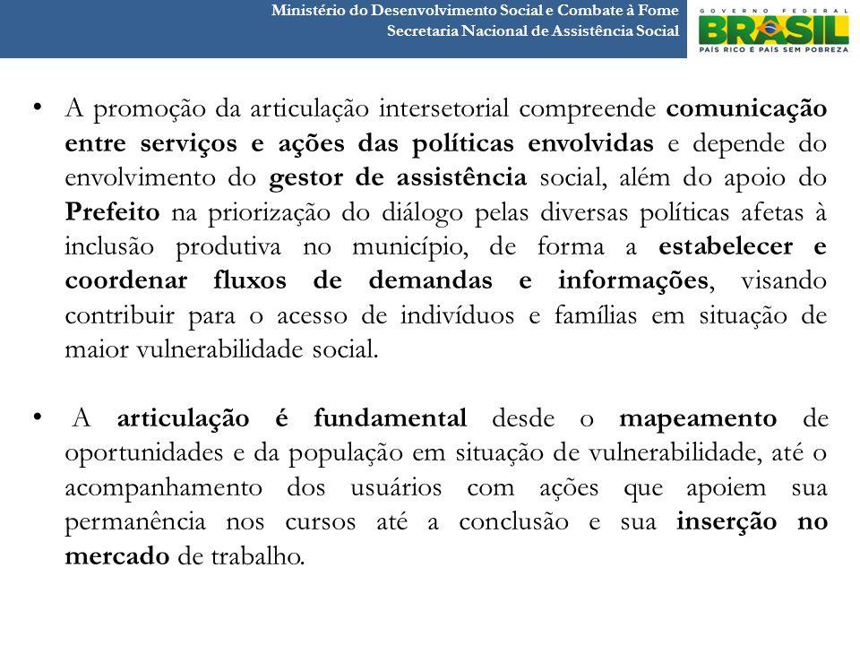 Ministério do Desenvolvimento Social e Combate à Fome Secretaria Nacional de Assistência Social A promoção da articulação intersetorial compreende com