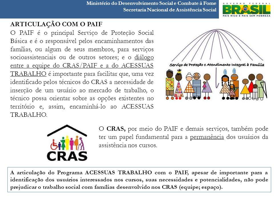 Ministério do Desenvolvimento Social e Combate à Fome Secretaria Nacional de Assistência Social O PAIF é o principal Serviço de Proteção Social Básica