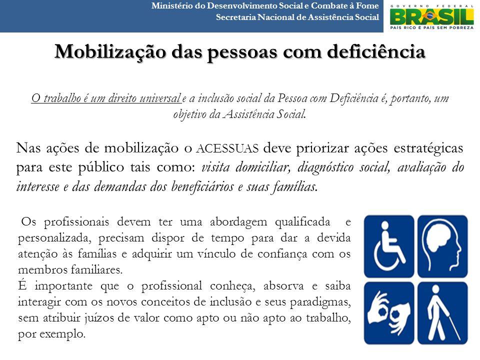 Ministério do Desenvolvimento Social e Combate à Fome Secretaria Nacional de Assistência Social Mobilização das pessoas com deficiência O trabalho é u