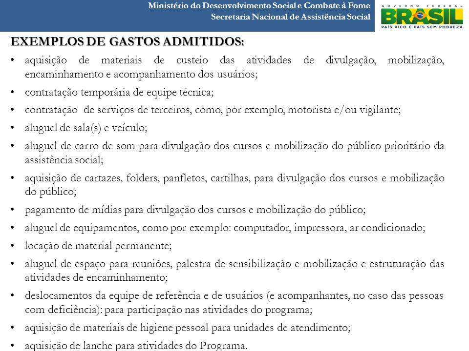 Ministério do Desenvolvimento Social e Combate à Fome Secretaria Nacional de Assistência Social EXEMPLOS DE GASTOS ADMITIDOS: aquisição de materiais d