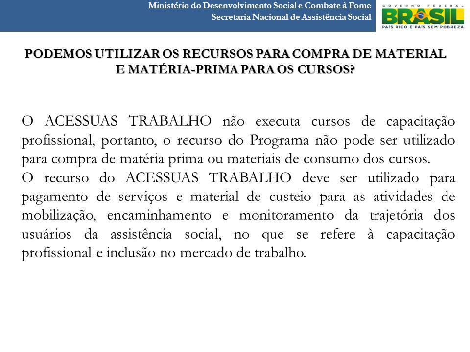 Ministério do Desenvolvimento Social e Combate à Fome Secretaria Nacional de Assistência Social O ACESSUAS TRABALHO não executa cursos de capacitação