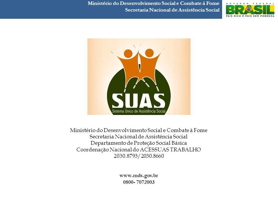 Obrigada ! Ministério do Desenvolvimento Social e Combate à Fome Secretaria Nacional de Assistência Social Ministério do Desenvolvimento Social e Comb
