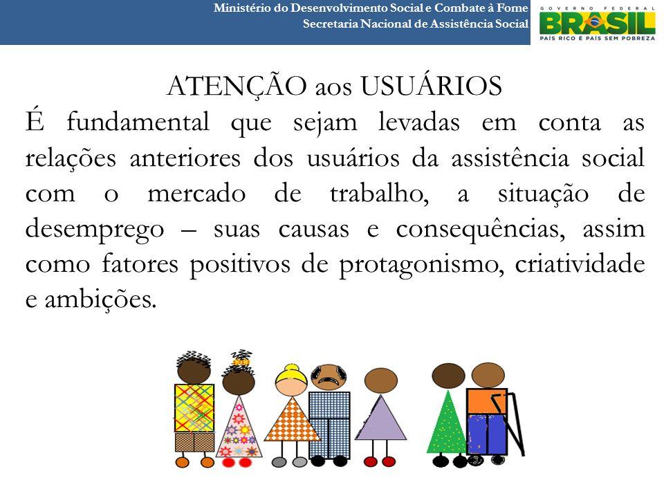 Ministério do Desenvolvimento Social e Combate à Fome Secretaria Nacional de Assistência Social ATENÇÃO aos USUÁRIOS É fundamental que sejam levadas e