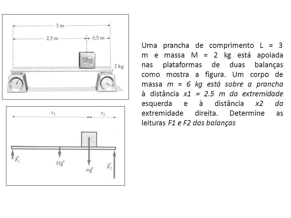 Uma prancha de comprimento L = 3 m e massa M = 2 kg está apoiada nas plataformas de duas balanças como mostra a figura. Um corpo de massa m = 6 kg est