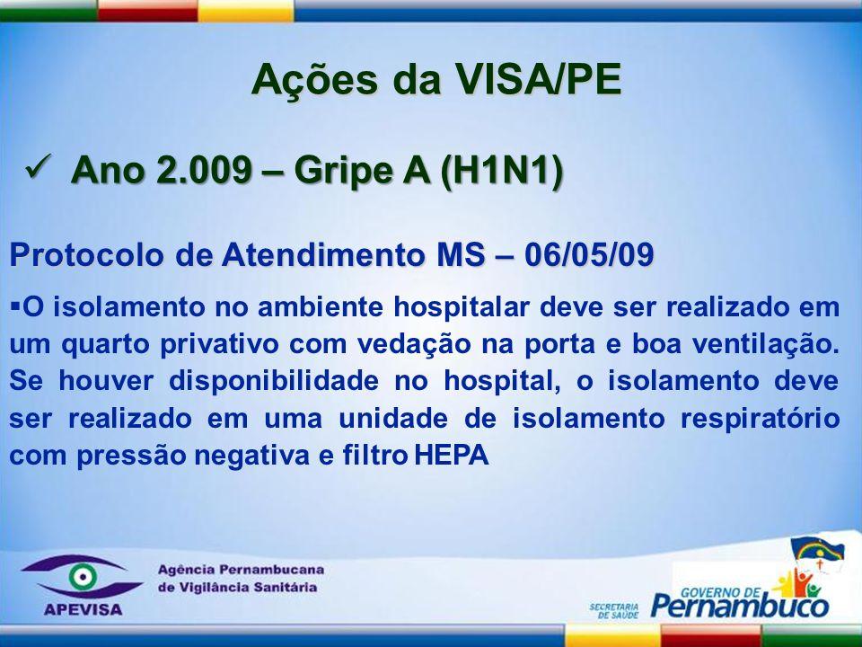 Protocolo de Atendimento MS – 06/05/09 O isolamento no ambiente hospitalar deve ser realizado em um quarto privativo com vedação na porta e boa ventil