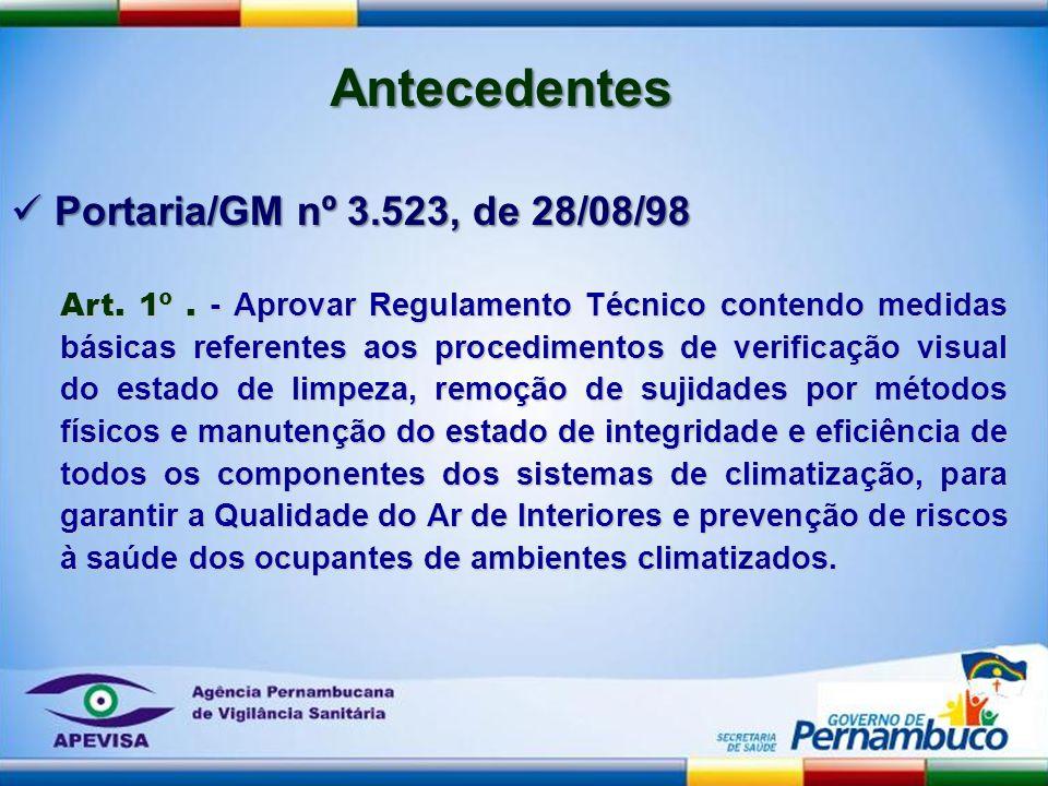 Art. 1º. - Aprovar Regulamento Técnico contendo medidas básicas referentes aos procedimentos de verificação visual do estado de limpeza, remoção de su
