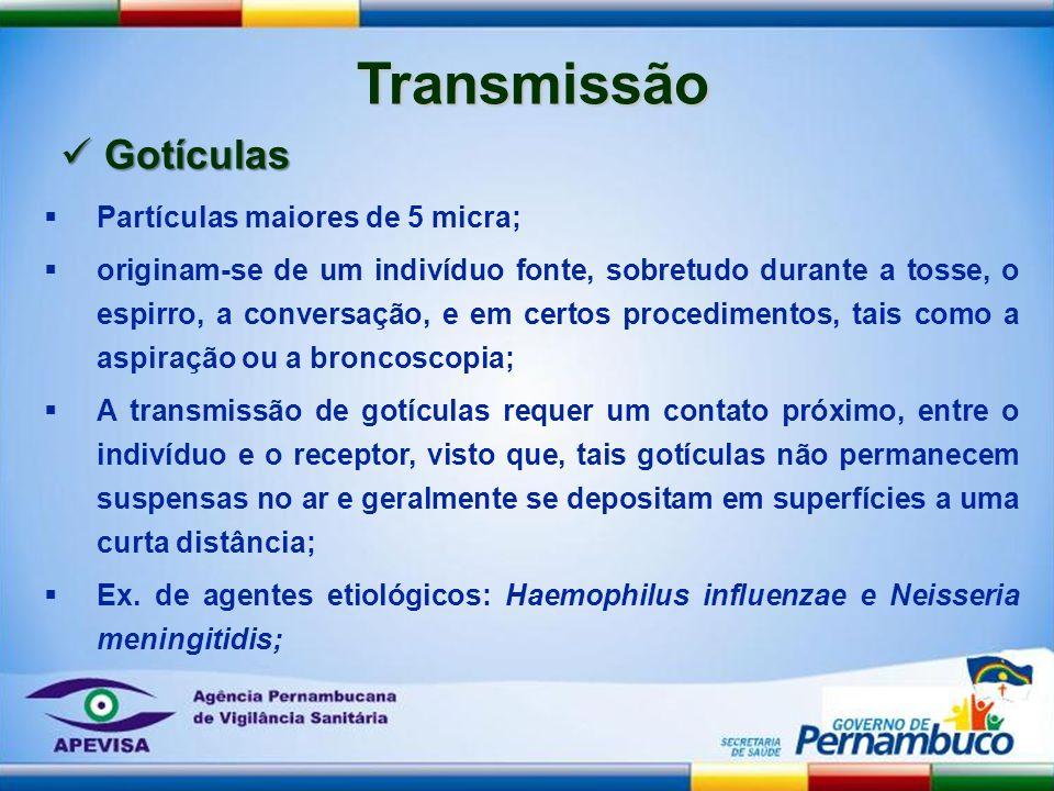 Transmissão Partículas maiores de 5 micra; originam-se de um indivíduo fonte, sobretudo durante a tosse, o espirro, a conversação, e em certos procedi