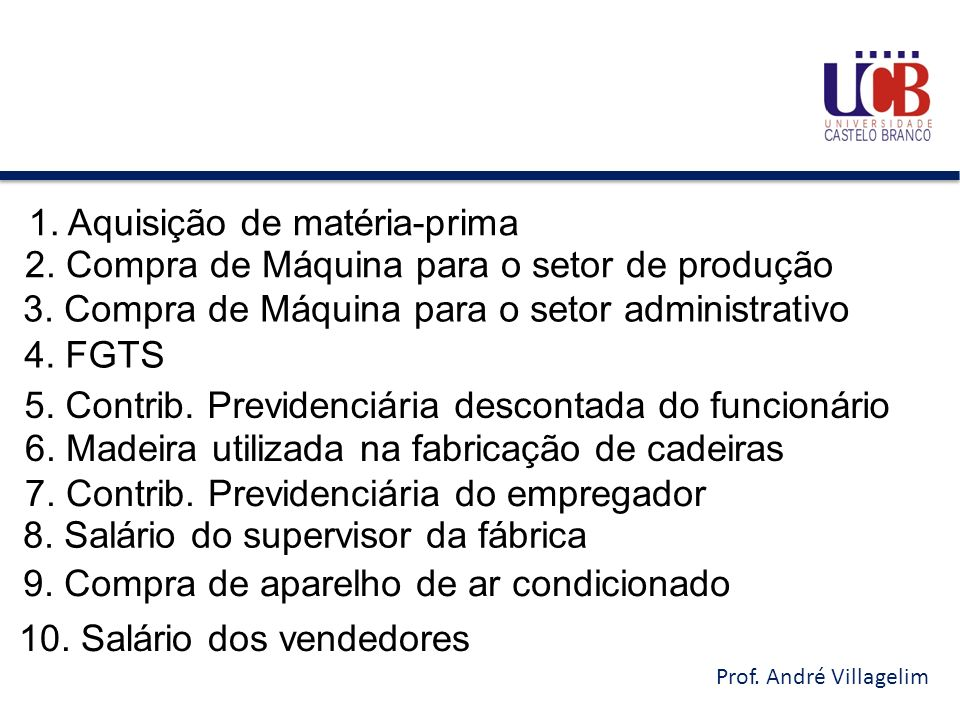 Prof. André Villagelim 1. Aquisição de matéria-prima 2. Compra de Máquina para o setor de produção 3. Compra de Máquina para o setor administrativo 4.
