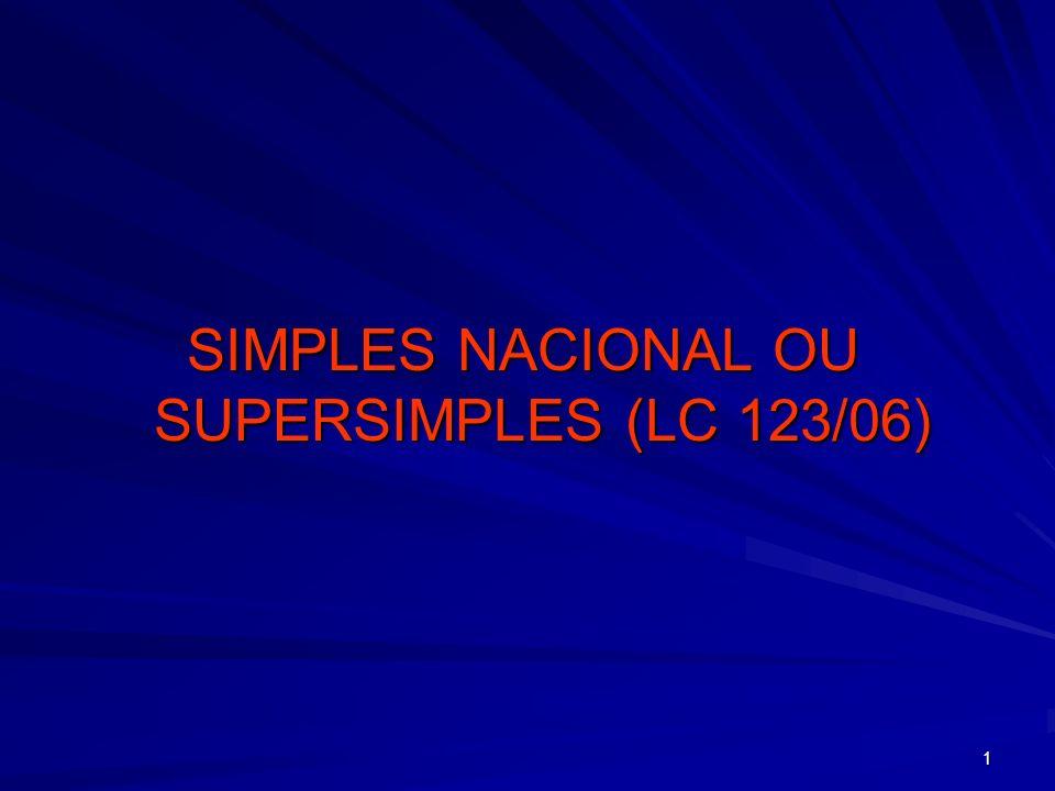 1 SIMPLES NACIONAL OU SUPERSIMPLES (LC 123/06)