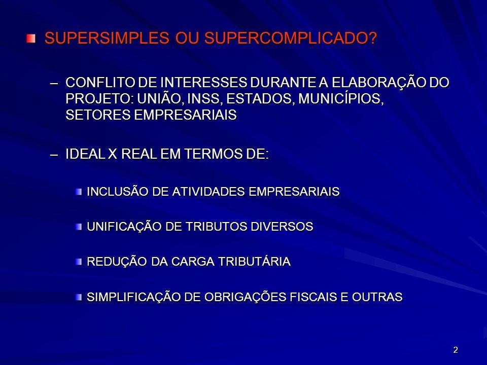 2 SUPERSIMPLES OU SUPERCOMPLICADO? –CONFLITO DE INTERESSES DURANTE A ELABORAÇÃO DO PROJETO: UNIÃO, INSS, ESTADOS, MUNICÍPIOS, SETORES EMPRESARIAIS –ID