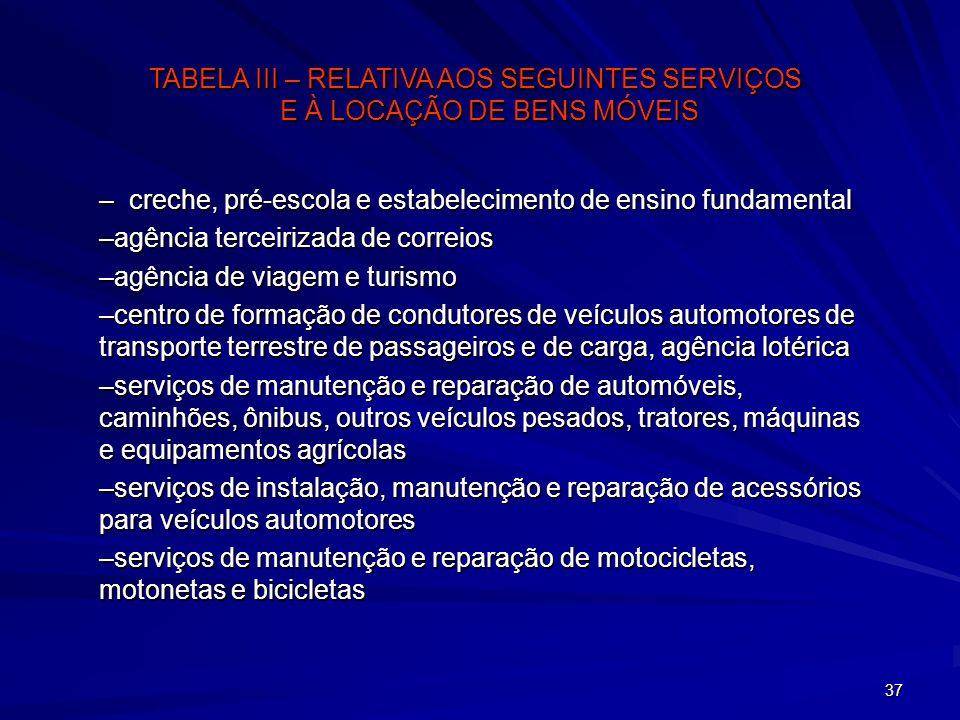 37 –creche, pré-escola e estabelecimento de ensino fundamental –agência terceirizada de correios –agência de viagem e turismo –centro de formação de c