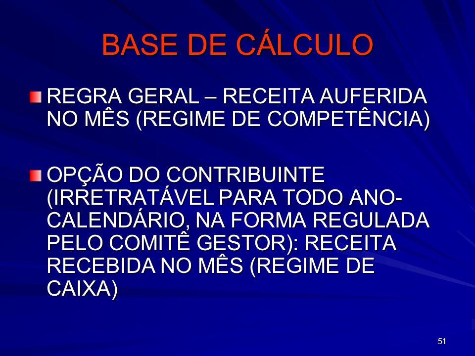 51 BASE DE CÁLCULO REGRA GERAL – RECEITA AUFERIDA NO MÊS (REGIME DE COMPETÊNCIA) OPÇÃO DO CONTRIBUINTE (IRRETRATÁVEL PARA TODO ANO- CALENDÁRIO, NA FOR