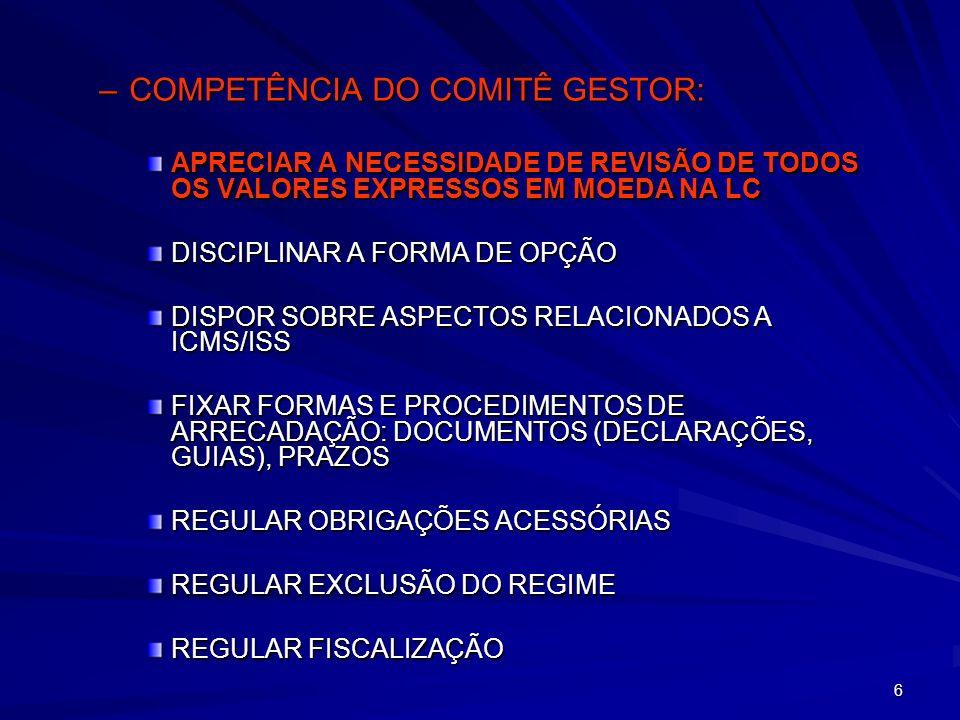 57 C) –RELATIVAMENTE ÀS ME COM RECEITA BRUTA NO ANO ANTERIOR DE ATÉ R$ 120.000, ESTADOS E MUNICÍPIOS PODERÃO OPTAR POR ESTABELECER O RECOLHIMENTO DE VALORES FIXOS MENSAIS O VALOR FIXO MENSAL NÃO PODERÁ EXCEDER EM 50% O VALOR DO MAIOR RECOLHIMENTO POSSÍVEL DO MESMO TRIBUTO PARA A MESMA FAIXA