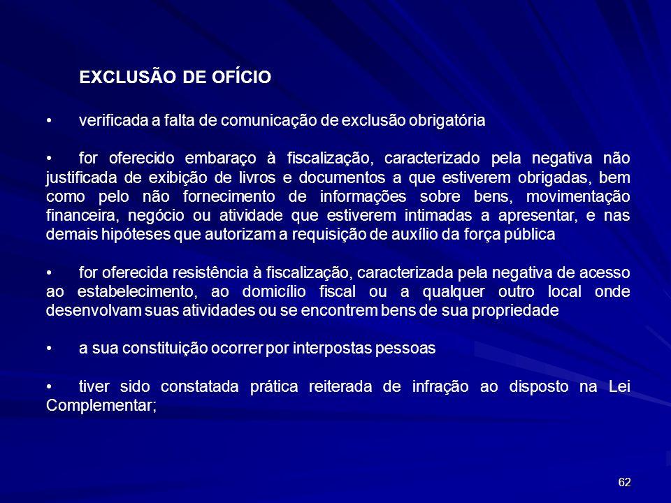 62 EXCLUSÃO DE OFÍCIO verificada a falta de comunicação de exclusão obrigatória for oferecido embaraço à fiscalização, caracterizado pela negativa não