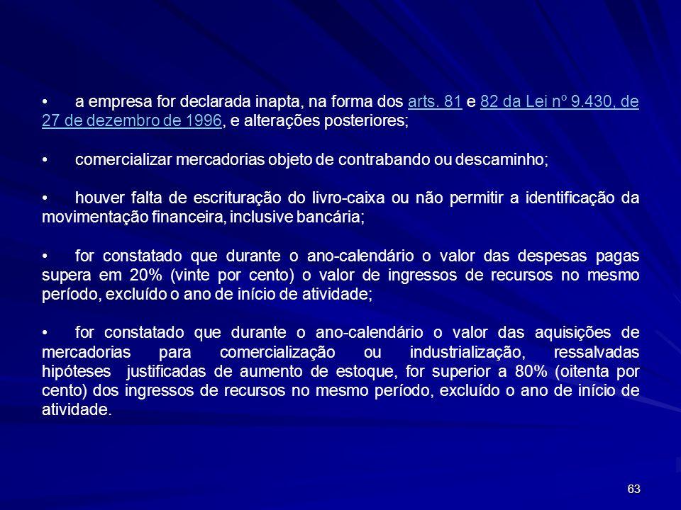 63 a empresa for declarada inapta, na forma dos arts. 81 e 82 da Lei nº 9.430, de 27 de dezembro de 1996, e alterações posteriores;arts. 8182 da Lei n