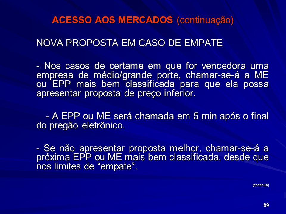 89 ACESSO AOS MERCADOS (continuação) NOVA PROPOSTA EM CASO DE EMPATE - Nos casos de certame em que for vencedora uma empresa de médio/grande porte, ch